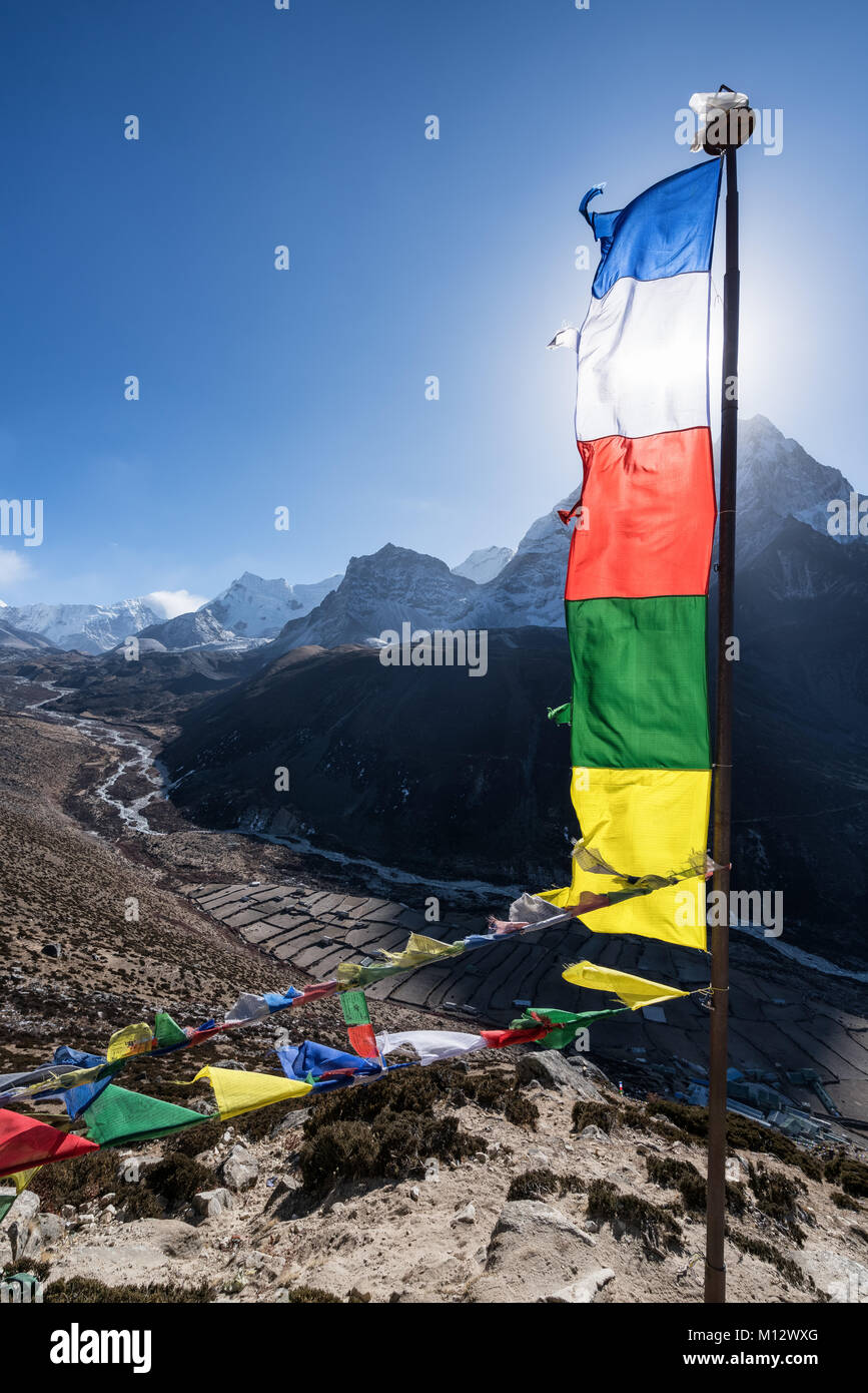 Views from a acclimatization trek above Dingboche, Nepal - Stock Image