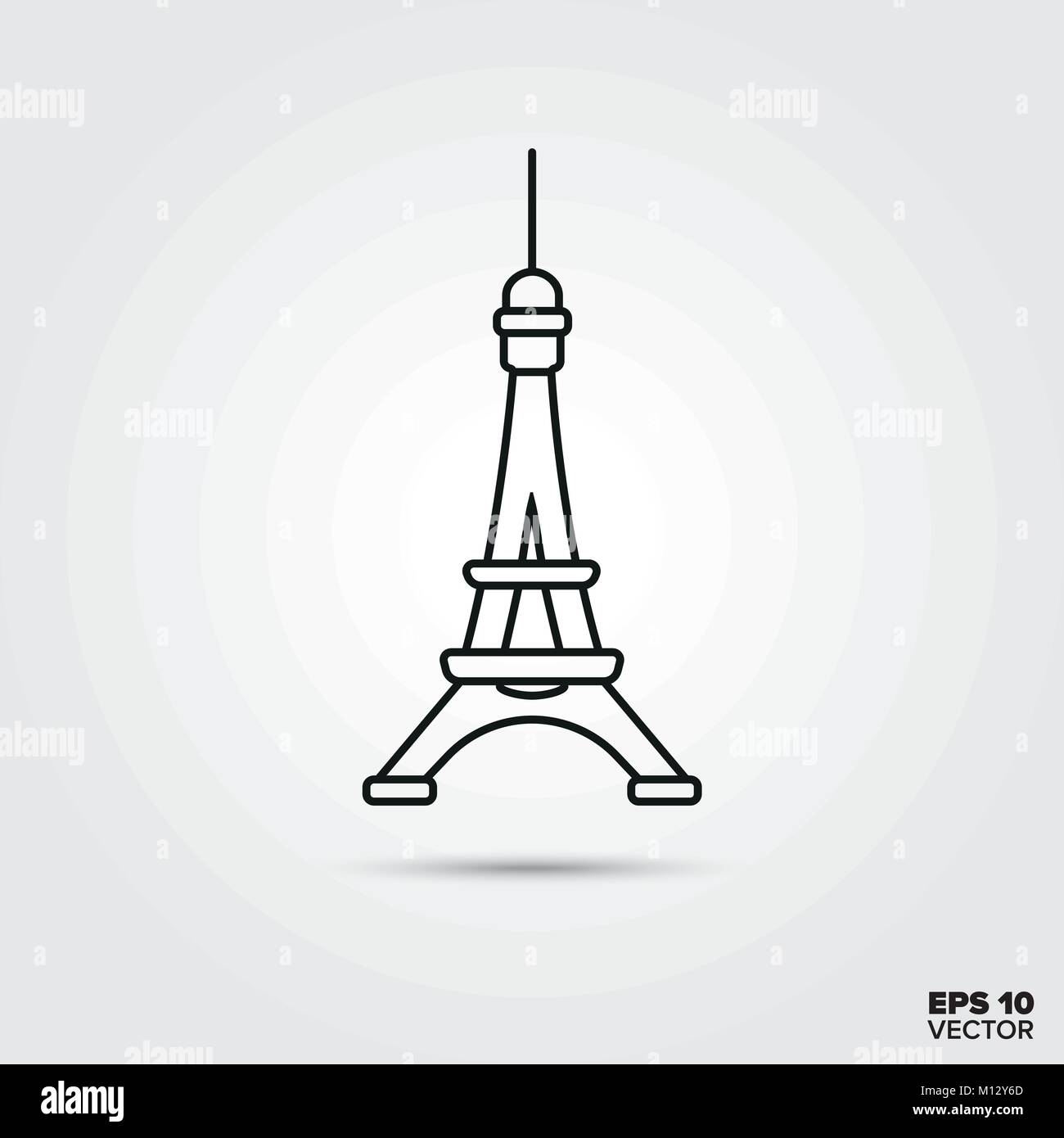 Symbol of France. Line icon of the Eiffel Tower. - Stock Vector