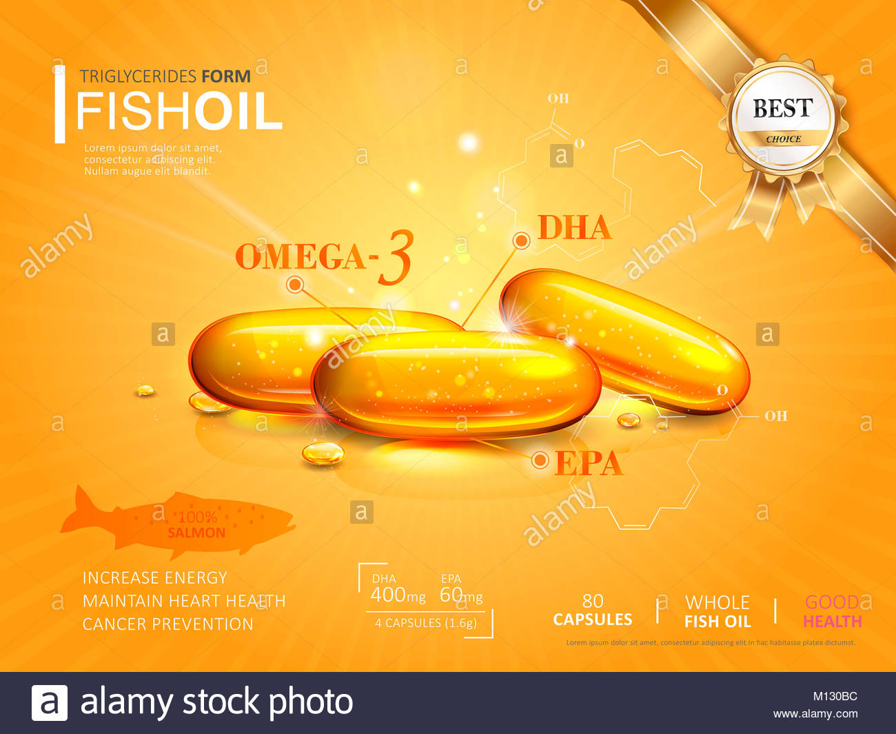 fish oil ads template omega 3 softgel isolated on chrome yellow background 3d illustration