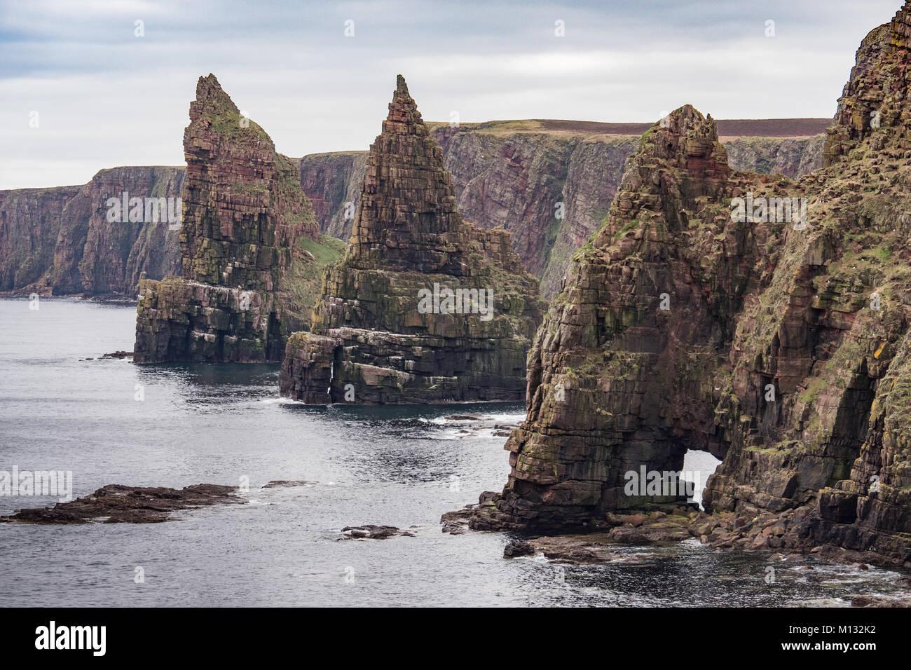 Duncansby Head Sea Stacks near John O'Groats, Caithness, Scotland. UK. - Stock Image