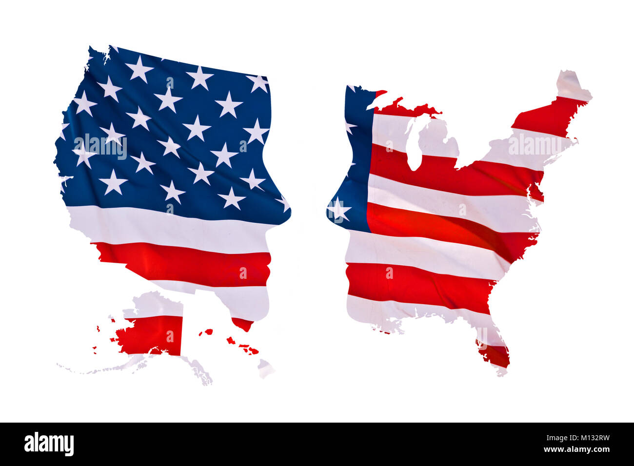 2016 US presidential elections map concept isolated on white background - Stock Image