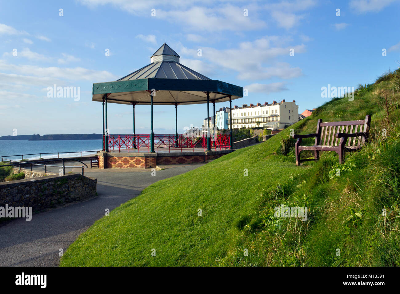The bandstand on Castle Hill in winter sunshine at Tenby, Pembrokeshire, Wales, UK Stock Photo