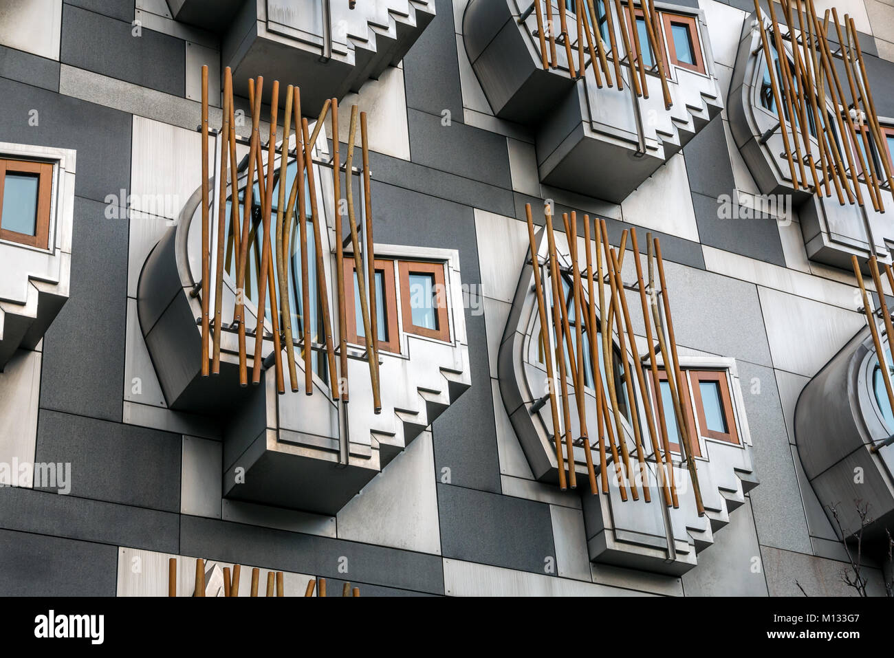 Think pods or contemplation spaces in modern architecture of Scottish parliament building by Enric Mirales, Holyrood, Stock Photo
