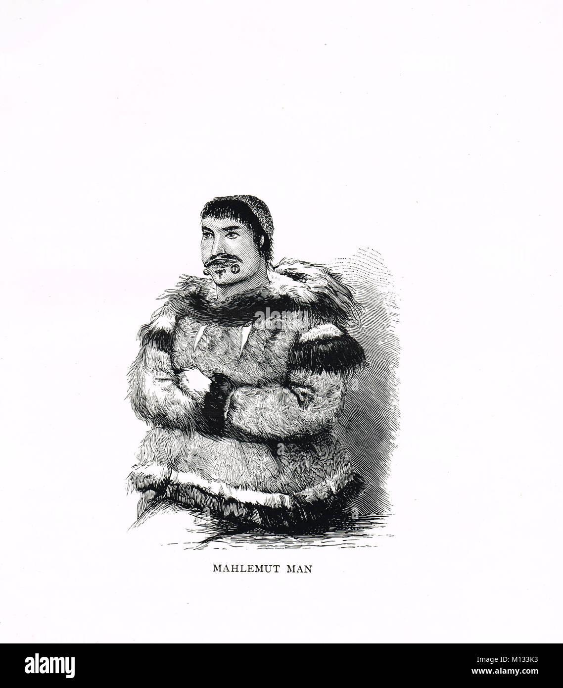 Mahlemut man, native Alaskan people, known today as Kuuvangmiut and Kobuk - Stock Image