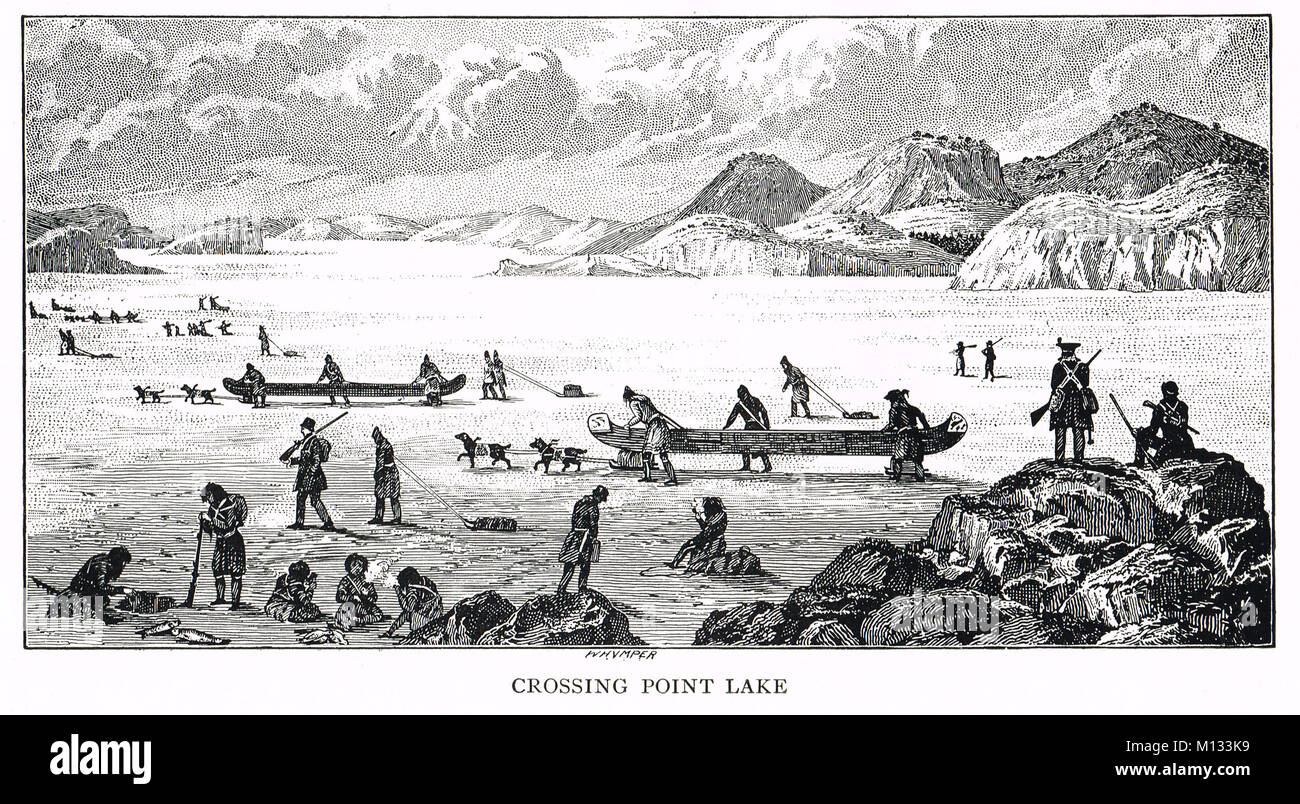Crossing Point Lake, Northwest Territories, Canada, Coppermine Expedition of 1819–22 Stock Photo