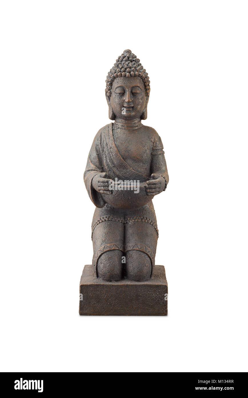 Buddha statue at full length isolated on white - Stock Image