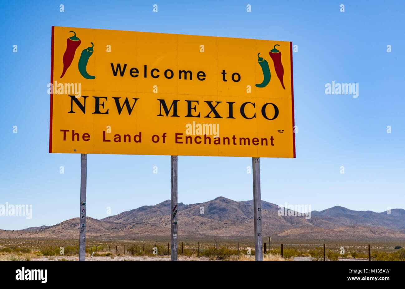 NEW MEXICO, USA - OCTOBER 26, 2017:  Welcome to New Mexico sign along the highway at the state border. Stock Photo
