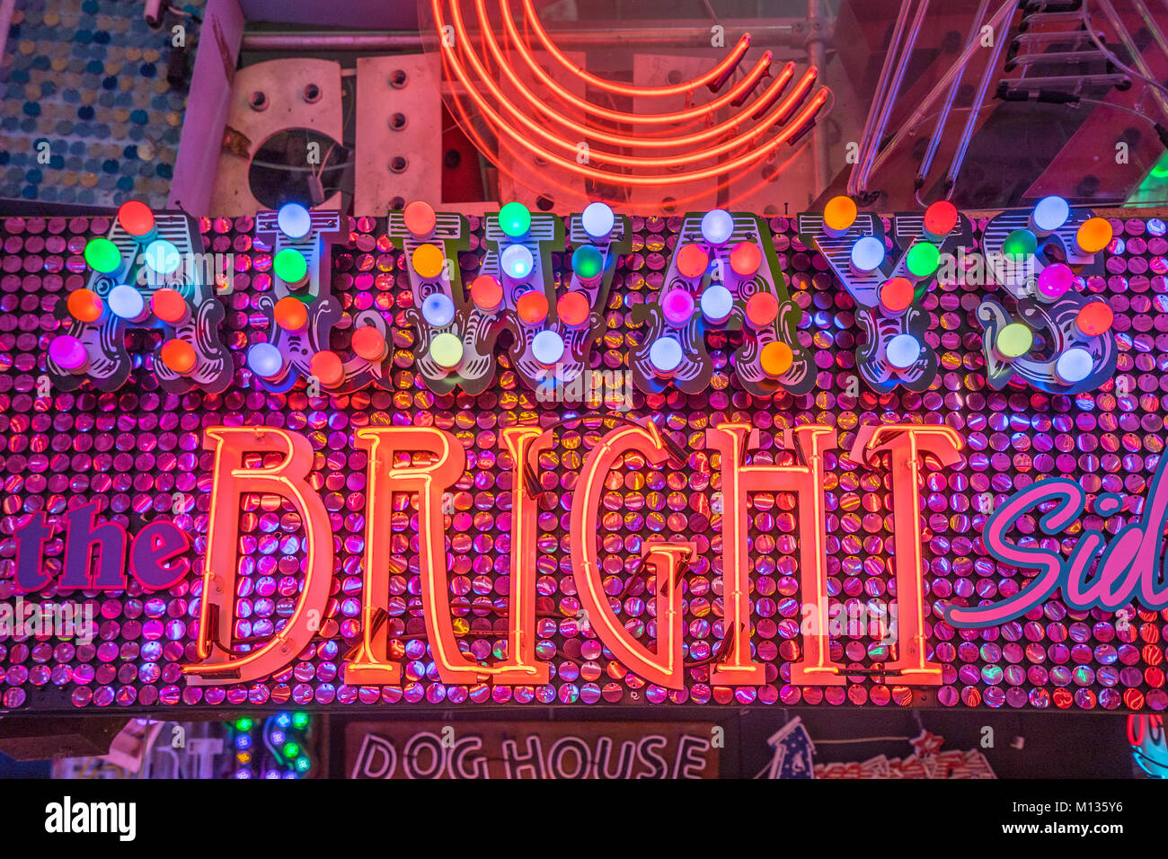 Neon signs available for hire from Gods Own Junkyard in Walthamstow, London. Photo date: Friday, January 26, 2018. - Stock Image