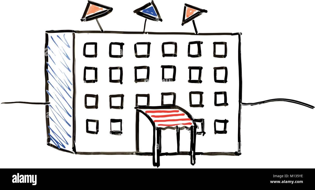 Hotel White Board Illustration Stock Vector