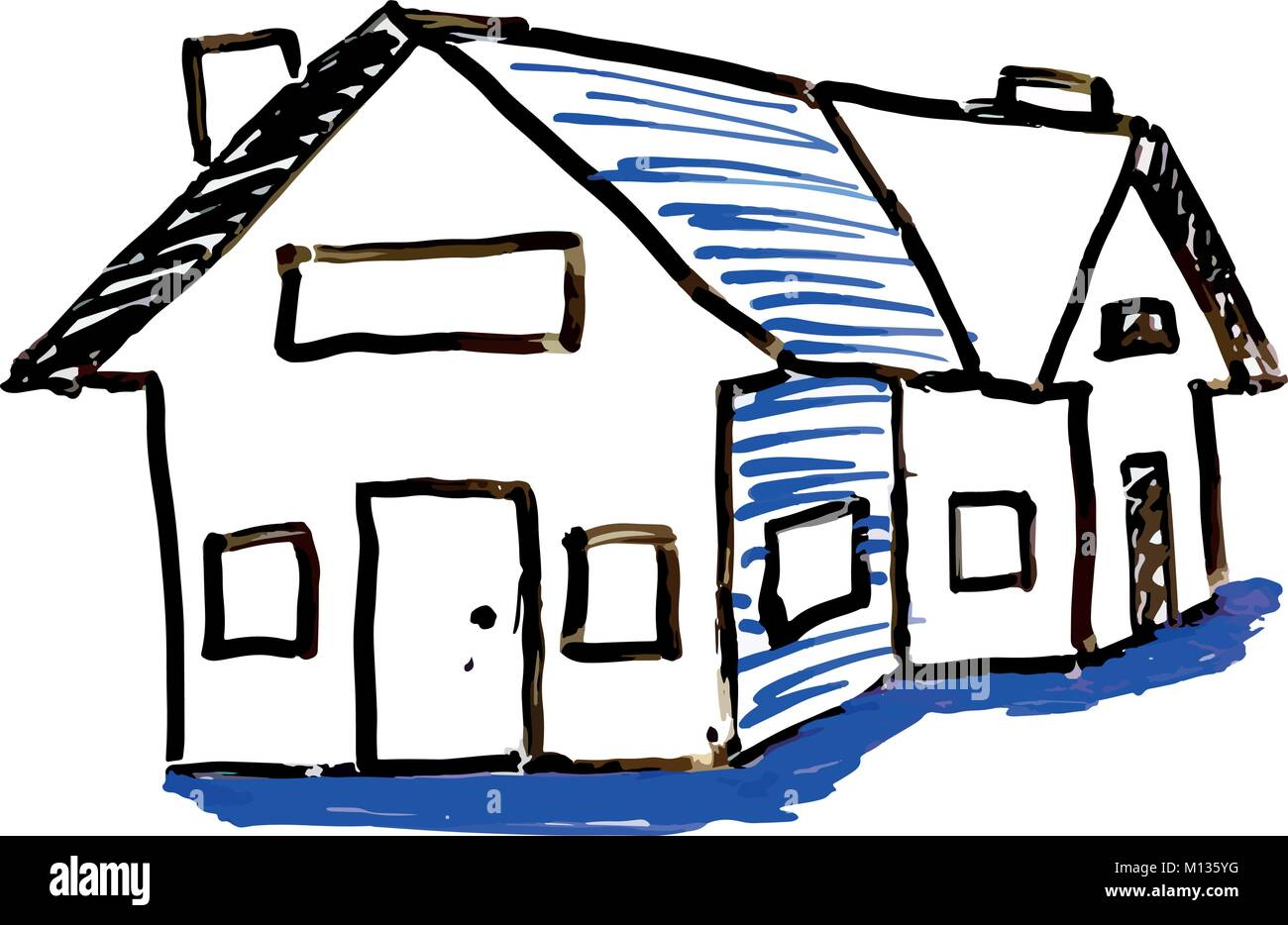 House Shading White Board Illustration - Stock Image