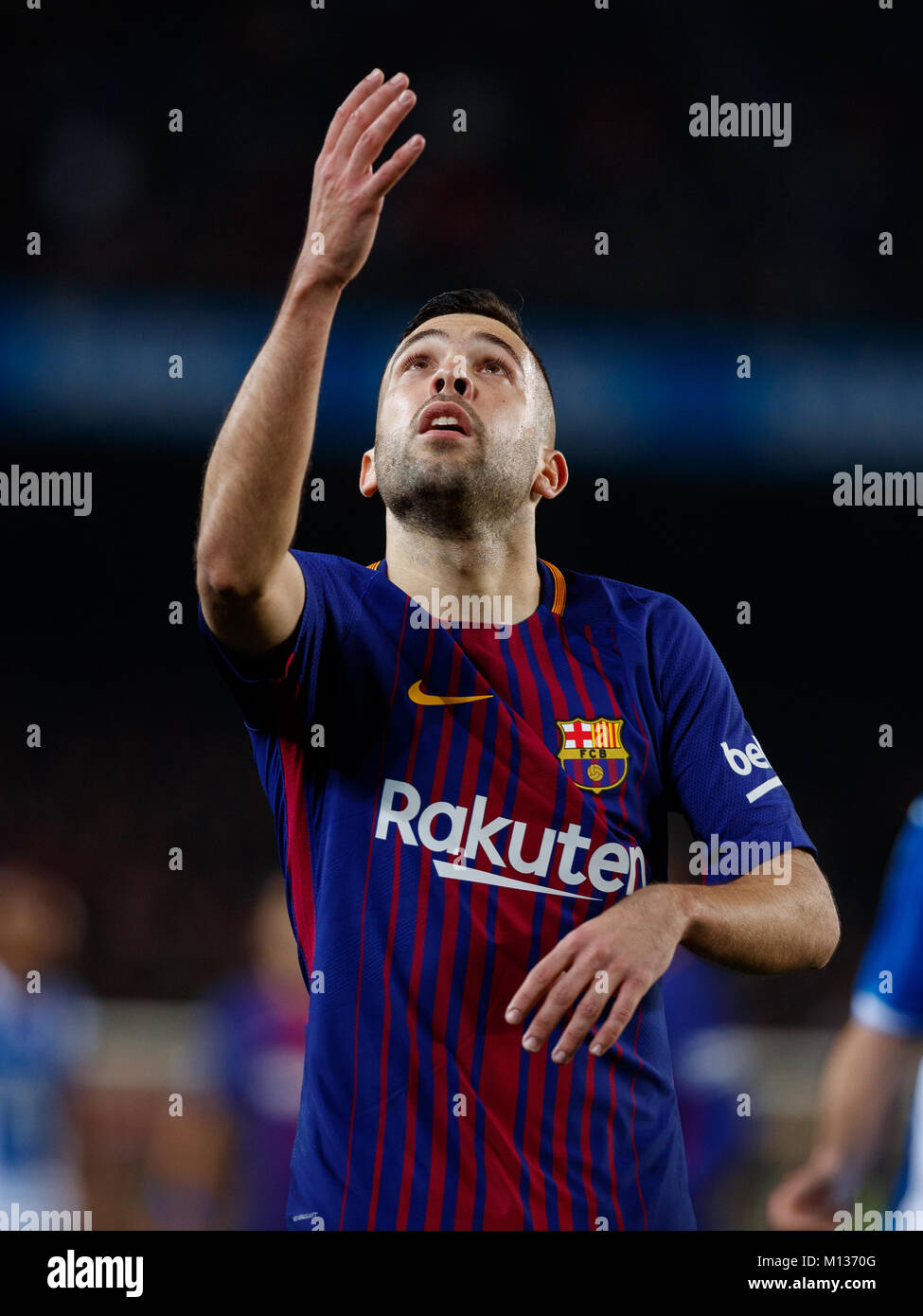 Barcelona, Spain. 25th January, 2018.  Copa del Rey football, quarter final, second leg, Barcelona versus Espanyol; - Stock Image