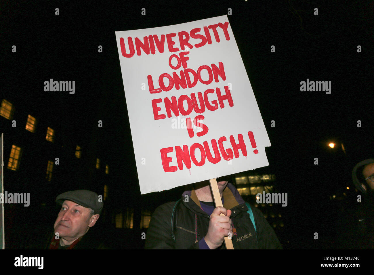 London, UK. 25th Jan, 2018. Protesters outside The University of London's Senate House as they demand that the - Stock Image