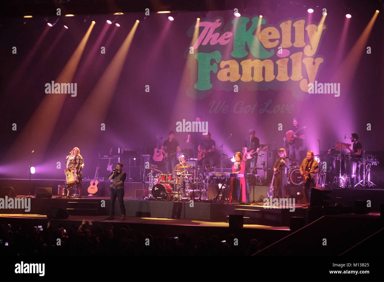 Riesa, Germany. 25th Jan, 2018. Familial pop and folk band 'Kelly Family' begins their concert tour in Riesa, - Stock Image