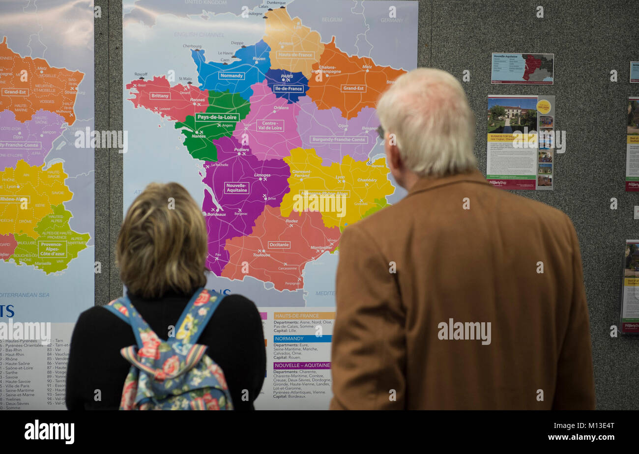 Map Of France Vendee Region.Looking At Wall Map Of France Regions Stock Photos Looking At Wall