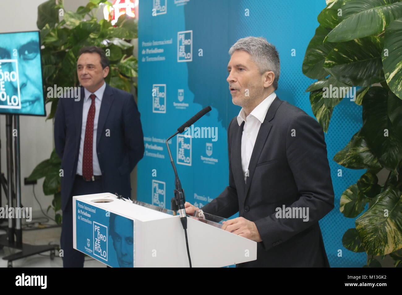 January 26, 2018 - Torremolinos (Malaga), January 26 Judge Grande-Marlaska receives in Torremolinos the prize of - Stock Image