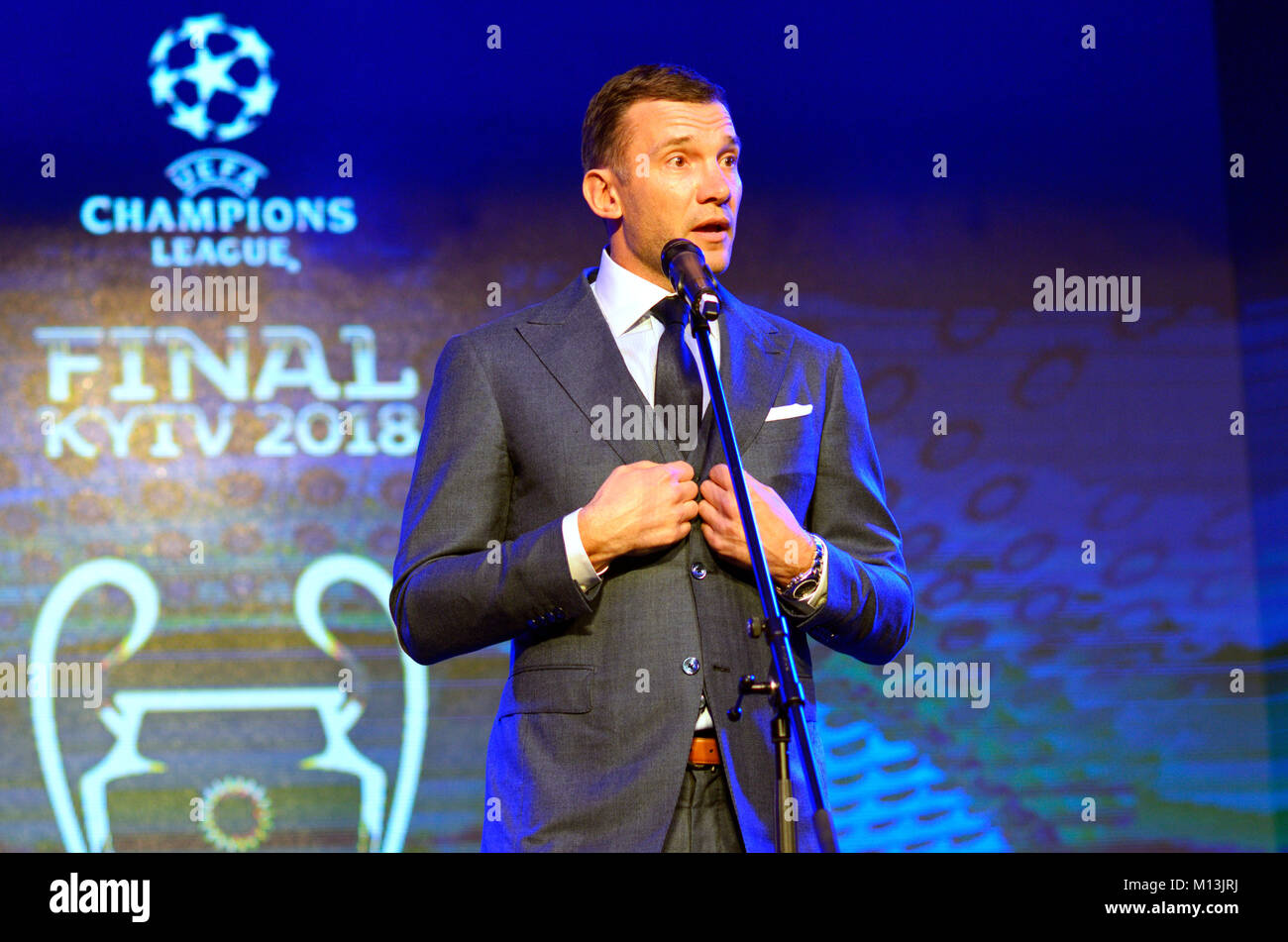 Andrey Shevchenko, football player and manager during presentation of logo and cups of UEFA Champions League final. - Stock Image