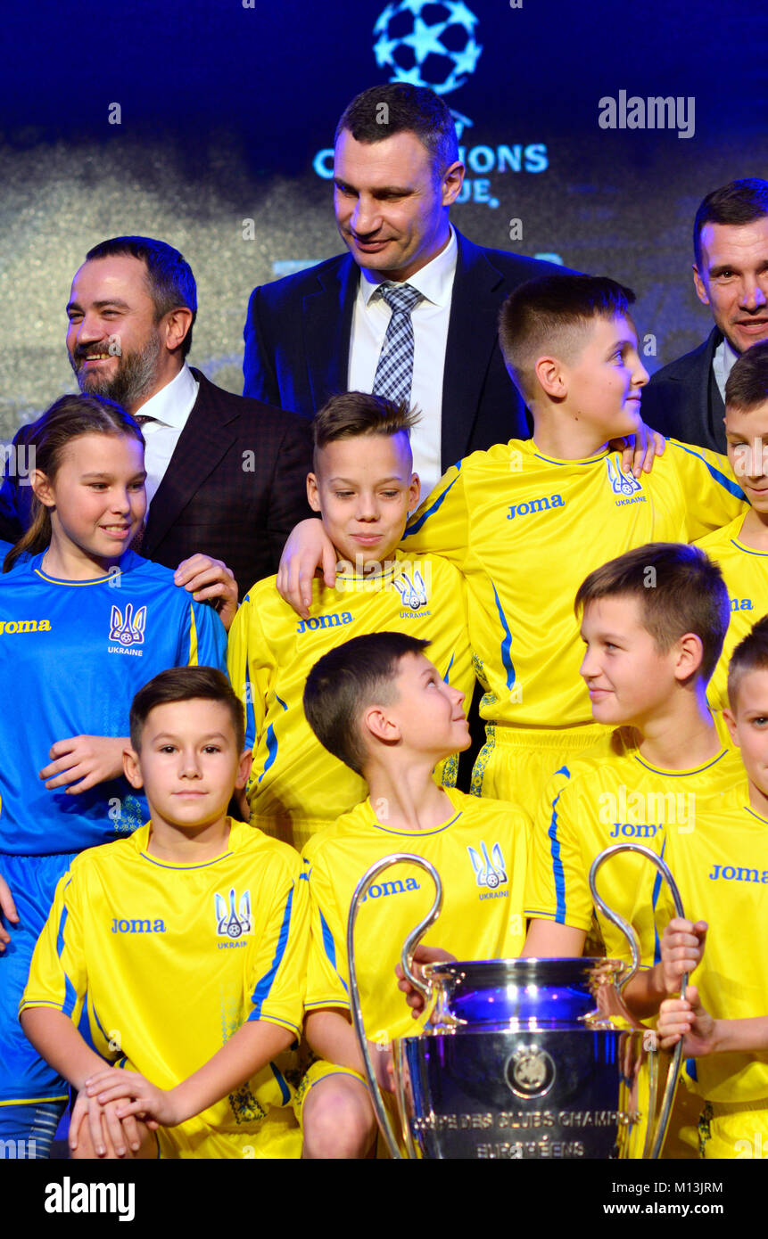 Ceremony of presentation of logo and cups of the UEFA Champions League final. December 12, 2017. Kiev, Ukraine - Stock Image