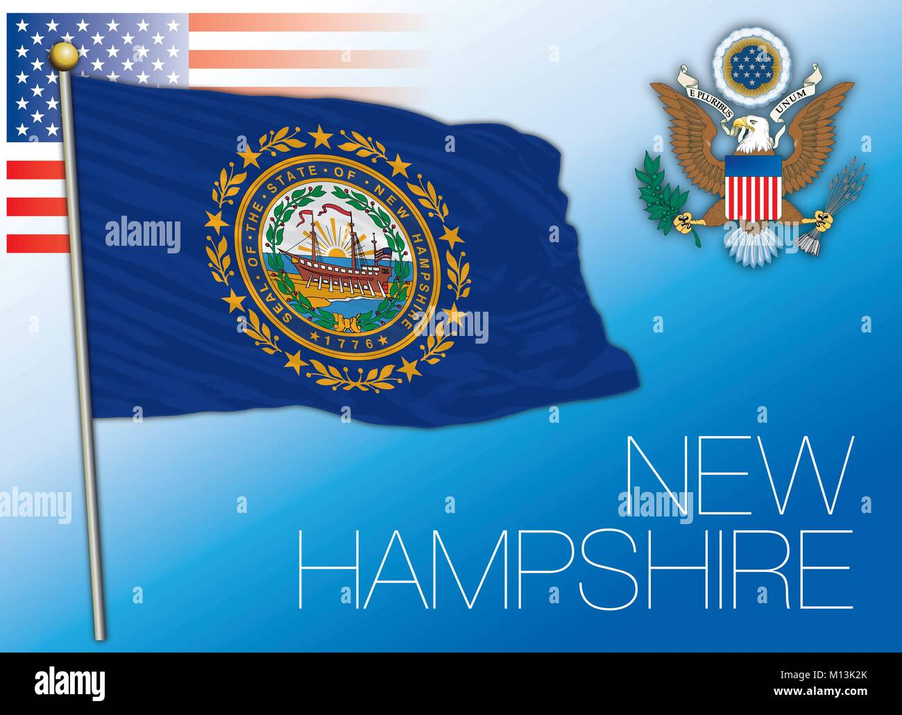 New Hampshire federal state flag, United States - Stock Vector