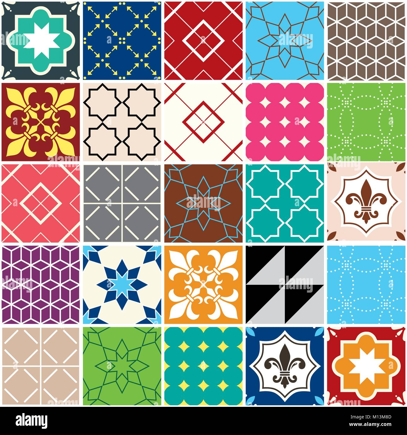 Seamless vector tile pattern, Azulejos tiles, Portuguese geometric and floral design - colorful patchwork - Stock Vector