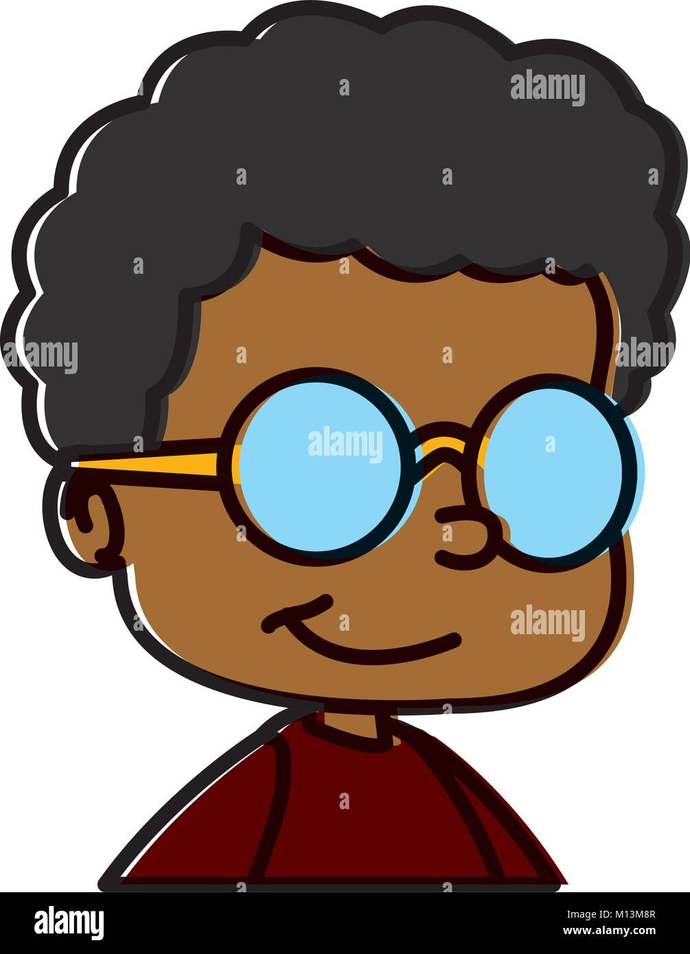 School Boy With Glasses Cartoon Stock Vector Image Art Alamy