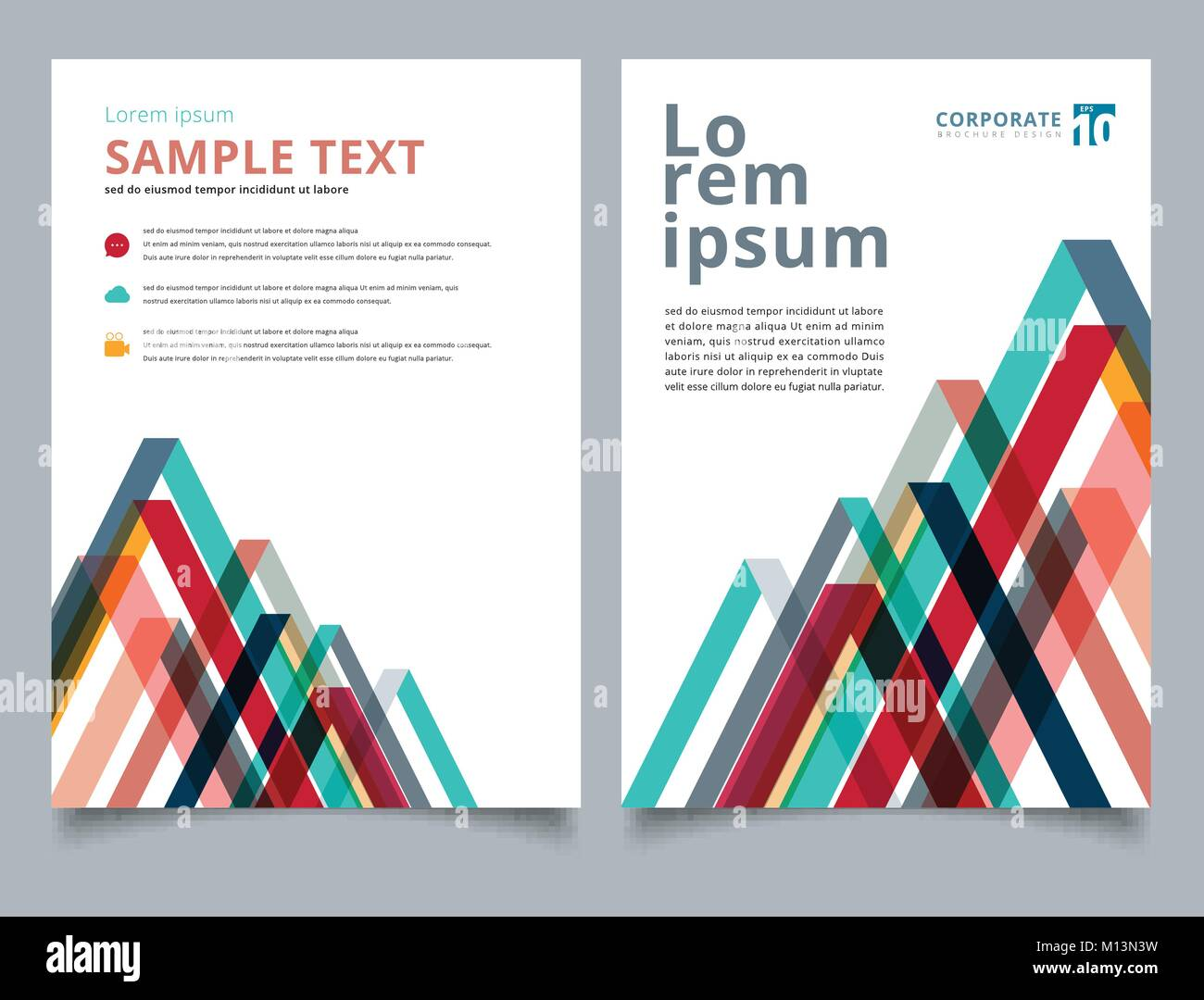 brochure layout design template geometric lines colorful overlap triangle pattern annual report leaflet advertising poster magazine business for