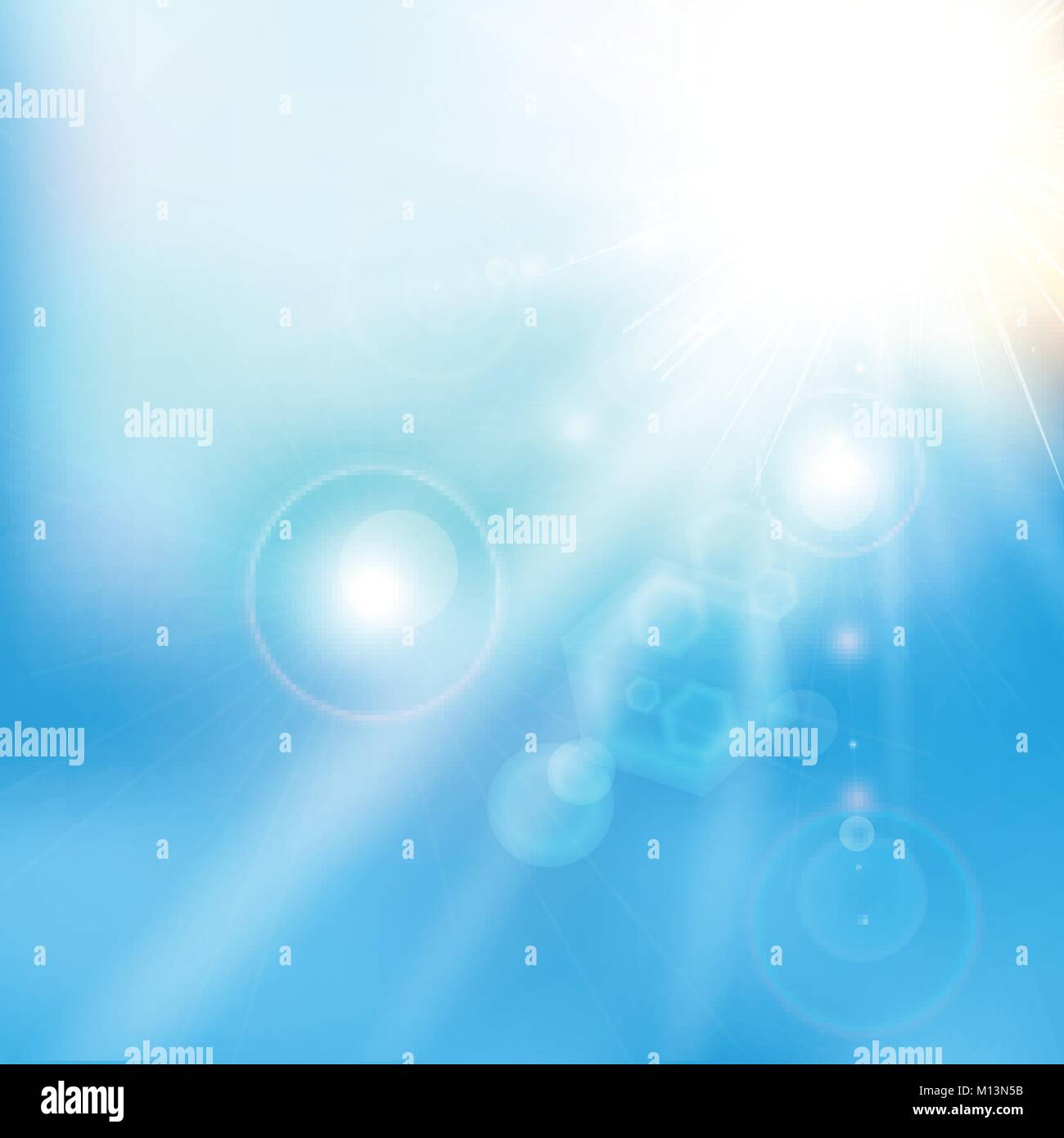 Spring Summer Sunlight Flare Abstract Blue Sky Color Background Vector Illustration