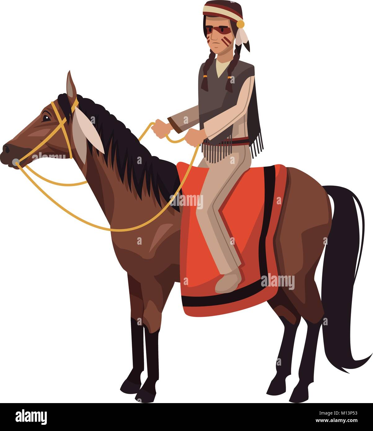 American indian on horse - Stock Image