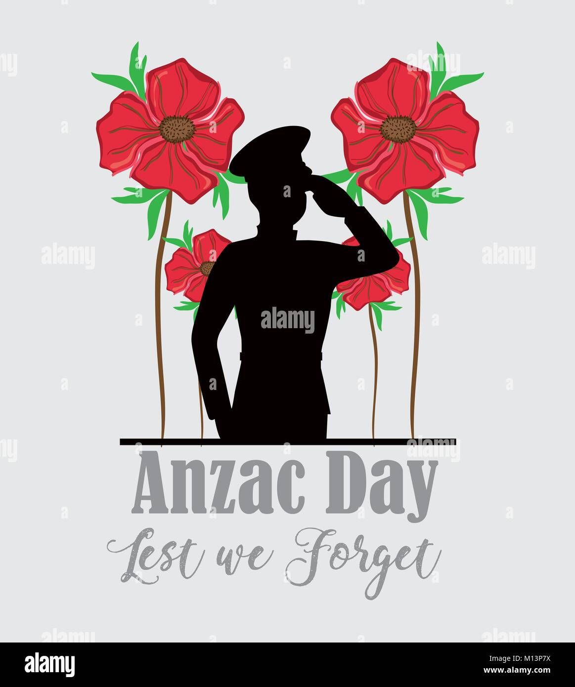Anzac day with soldier memorial holiday vector illustration - Stock Vector