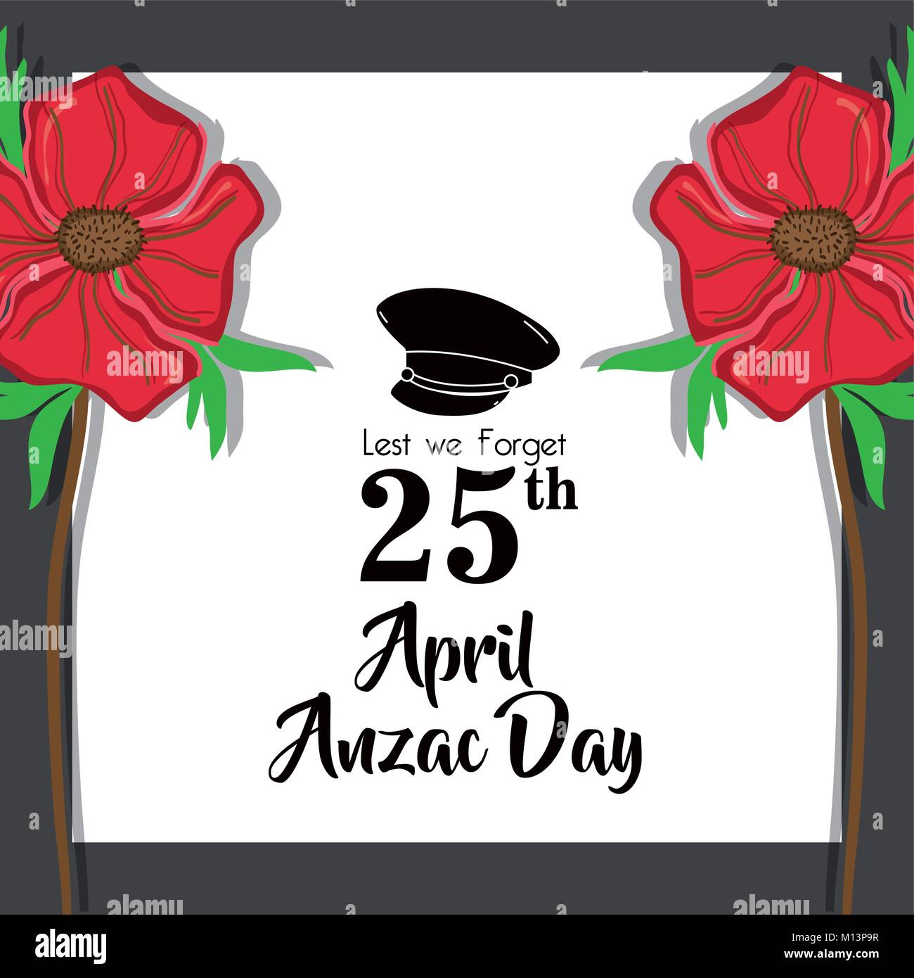 hat soldier remembrance to anzac day vector illustration - Stock Vector
