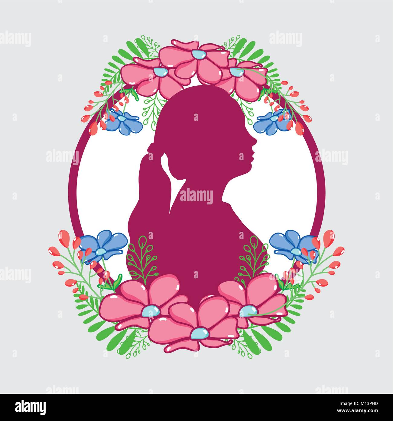 fucsia woman silhouette with flowers and leaves design Stock Vector