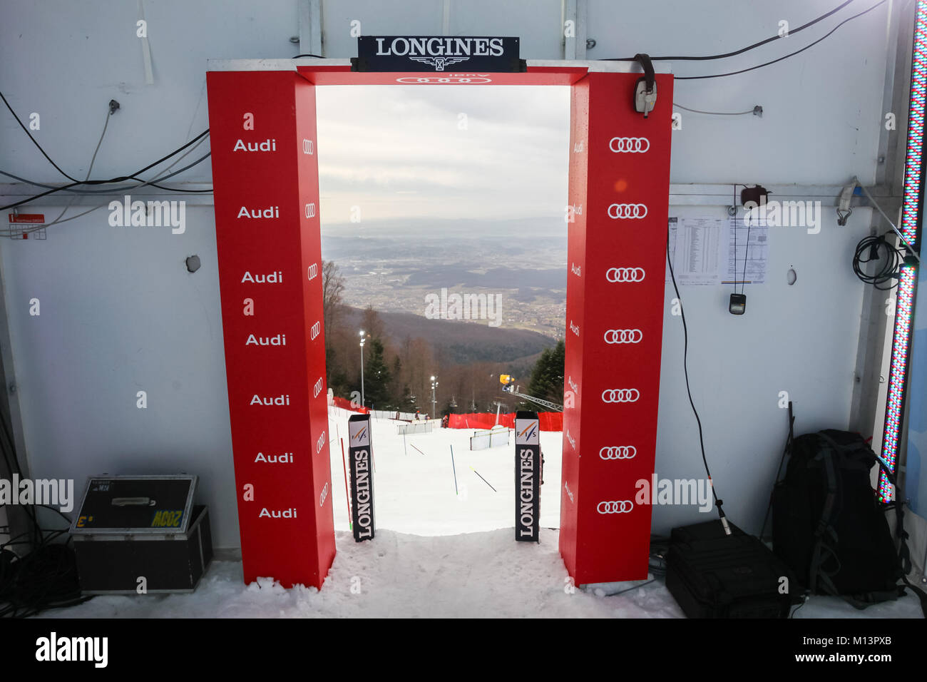 ZAGREB, CROATIA - JANUARY 3, 2018 : Start of the ski run of the Audi FIS Alpine Ski World Cup Women's Slalom, - Stock Image