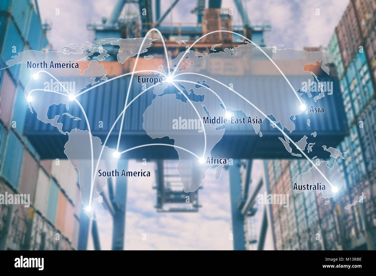 Network connection partnership logistics and world map with port in background.Network connection logistics technology - Stock Image