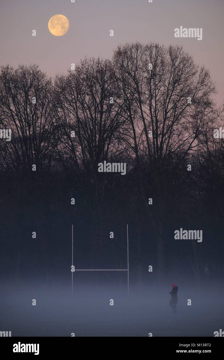 France, Hauts de Seine, Neuilly, Full moon on a winter morning on a rugby field at Bagatelle Stock Photo
