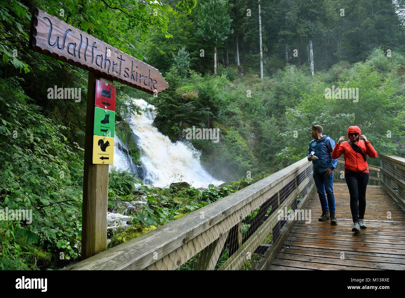 Germany, Baden Wurttemburg, Black Forest, Triberg, Triberg Waterfalls, Germany's highest waterfalls - Stock Image