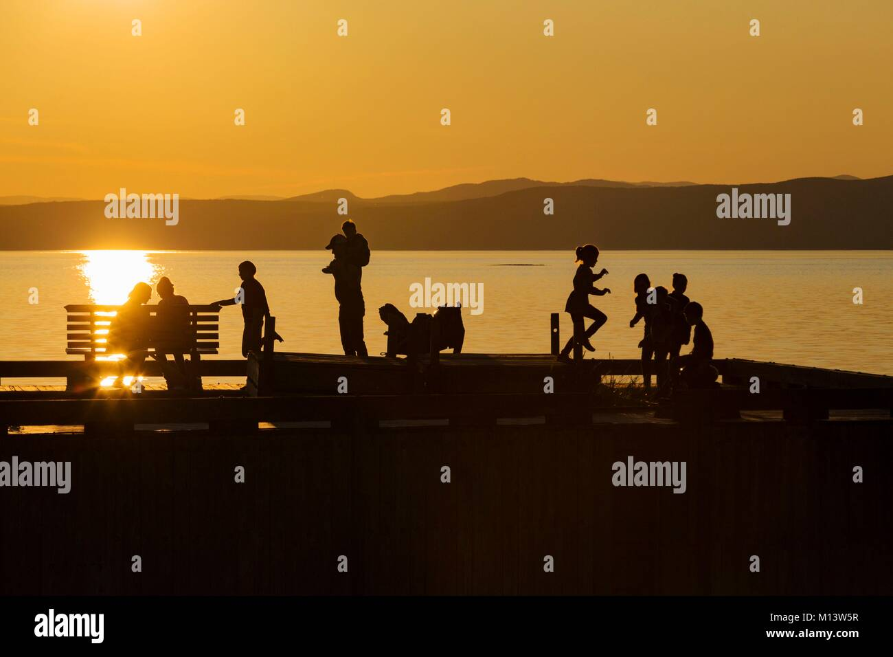 Canada, province of Quebec, Bas-Saint-Laurent region, Kamouraska, Miller quay at sunset, shadows - Stock Image
