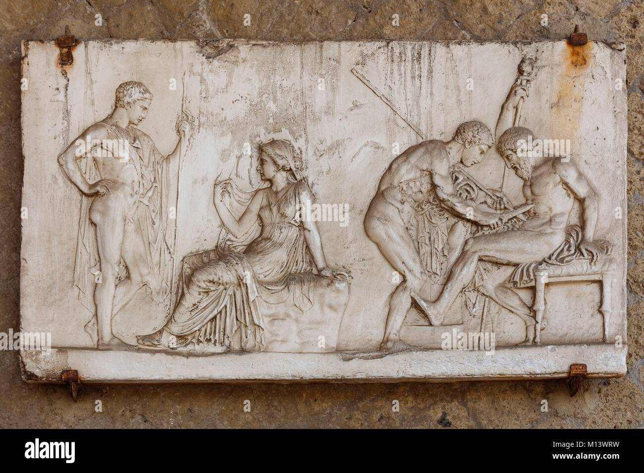 Italy, Campania, Herculanum, listed as World Heritage by UNESCO, bas relief - Stock Image