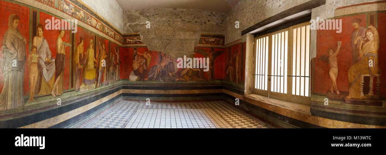 Italy, Campania, Pompeii, listed as World Heritage by UNESCO, Mysteries villa fresco - Stock Image