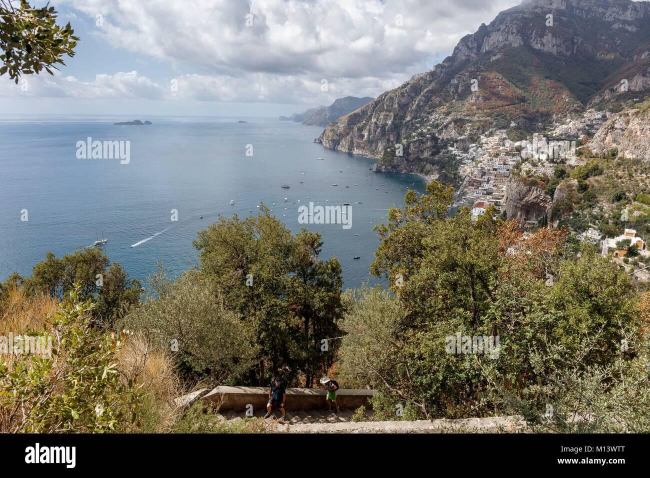 Italy, Campania, Bomerano, Amalfi coast listed as World Heritage by UNESCO, Sentiero degli Dei (path of the Gods), - Stock Image
