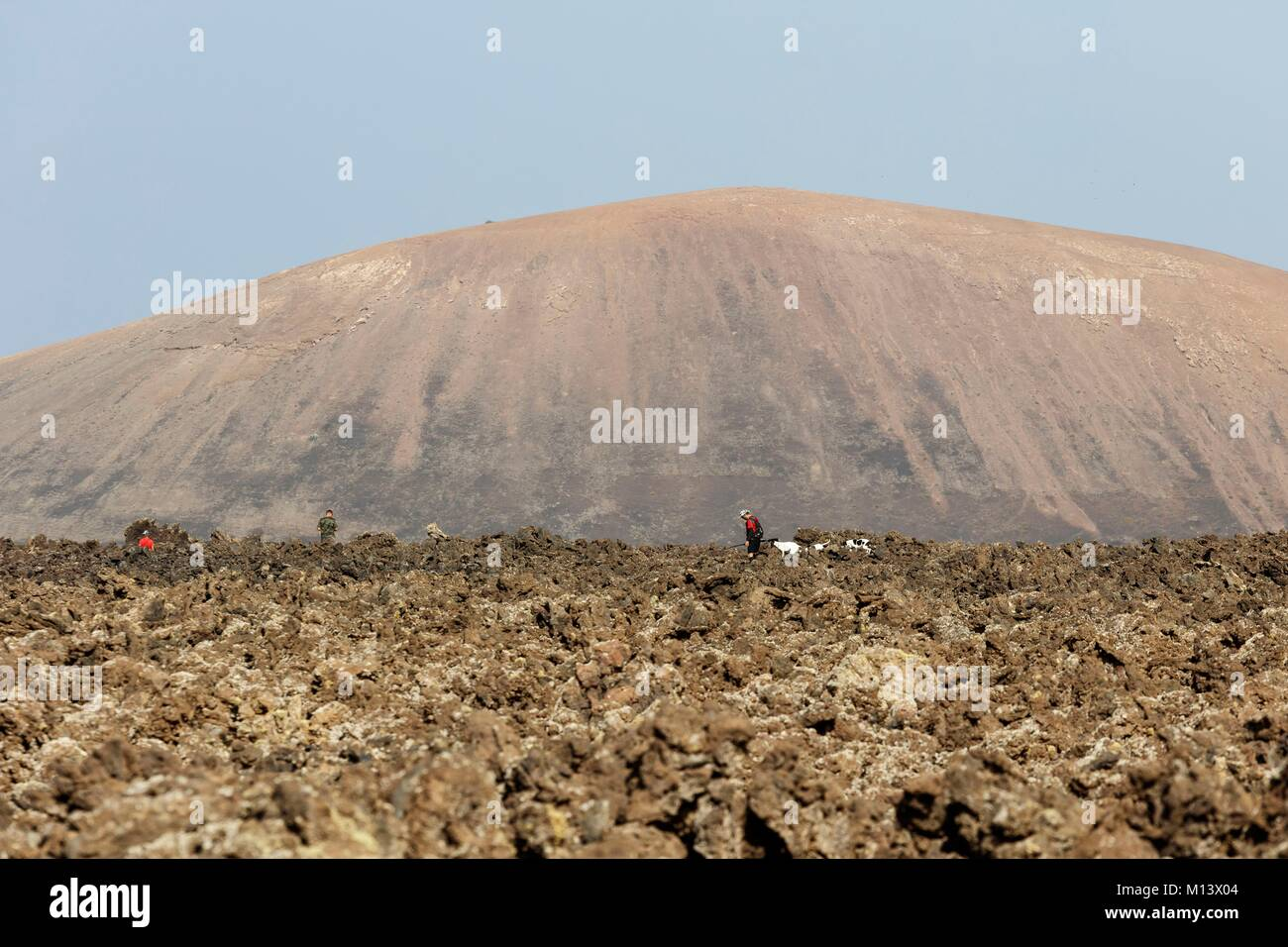 Spain, Canary Islands, Lanzarote Island, hunters and their dogs in a lava field - Stock Image