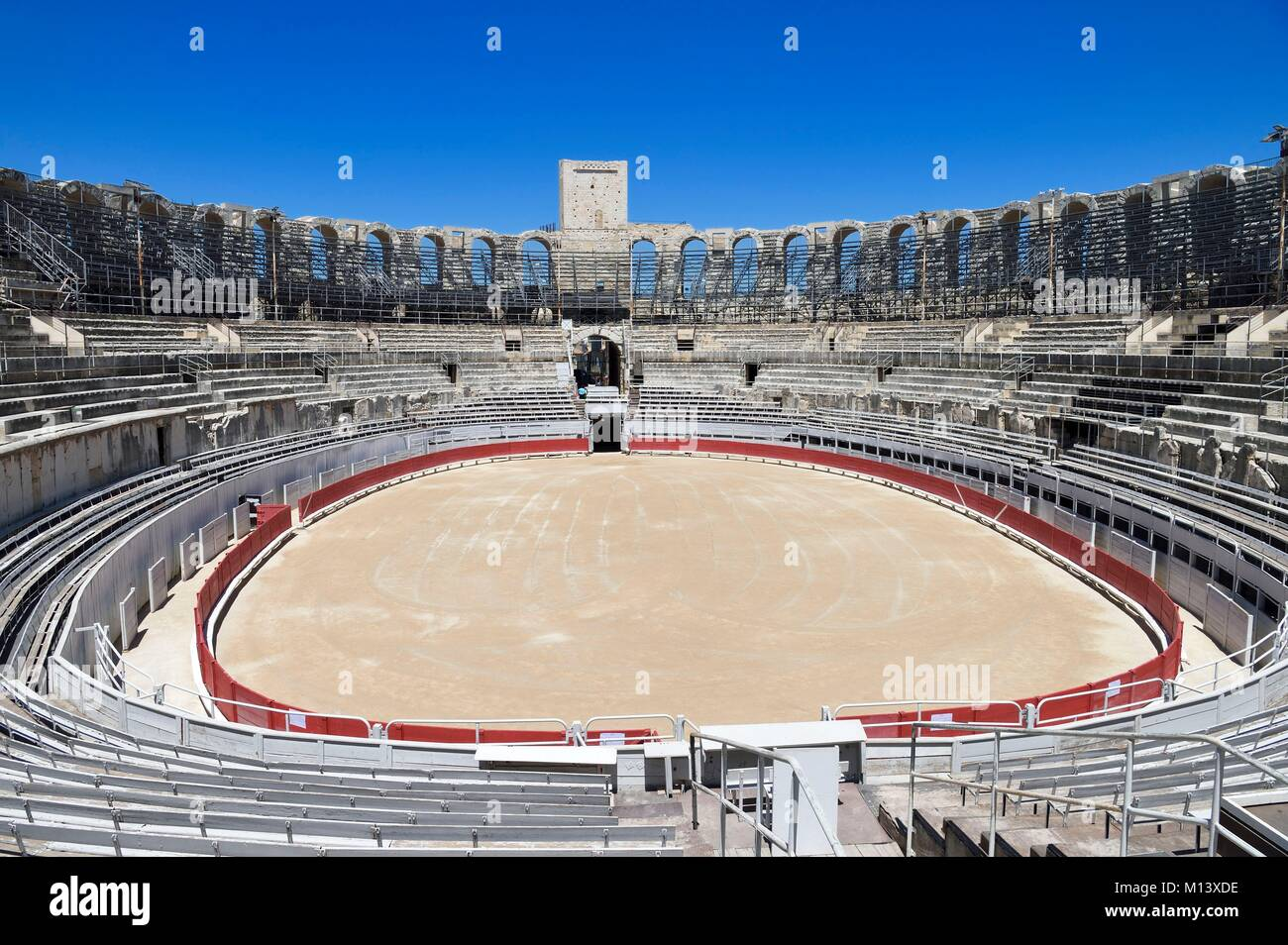 France, Bouches du Rhone, Arles, the Arenas, Roman Amphitheatre 80-90 AD, Historical monument, listed as World Heritage - Stock Image
