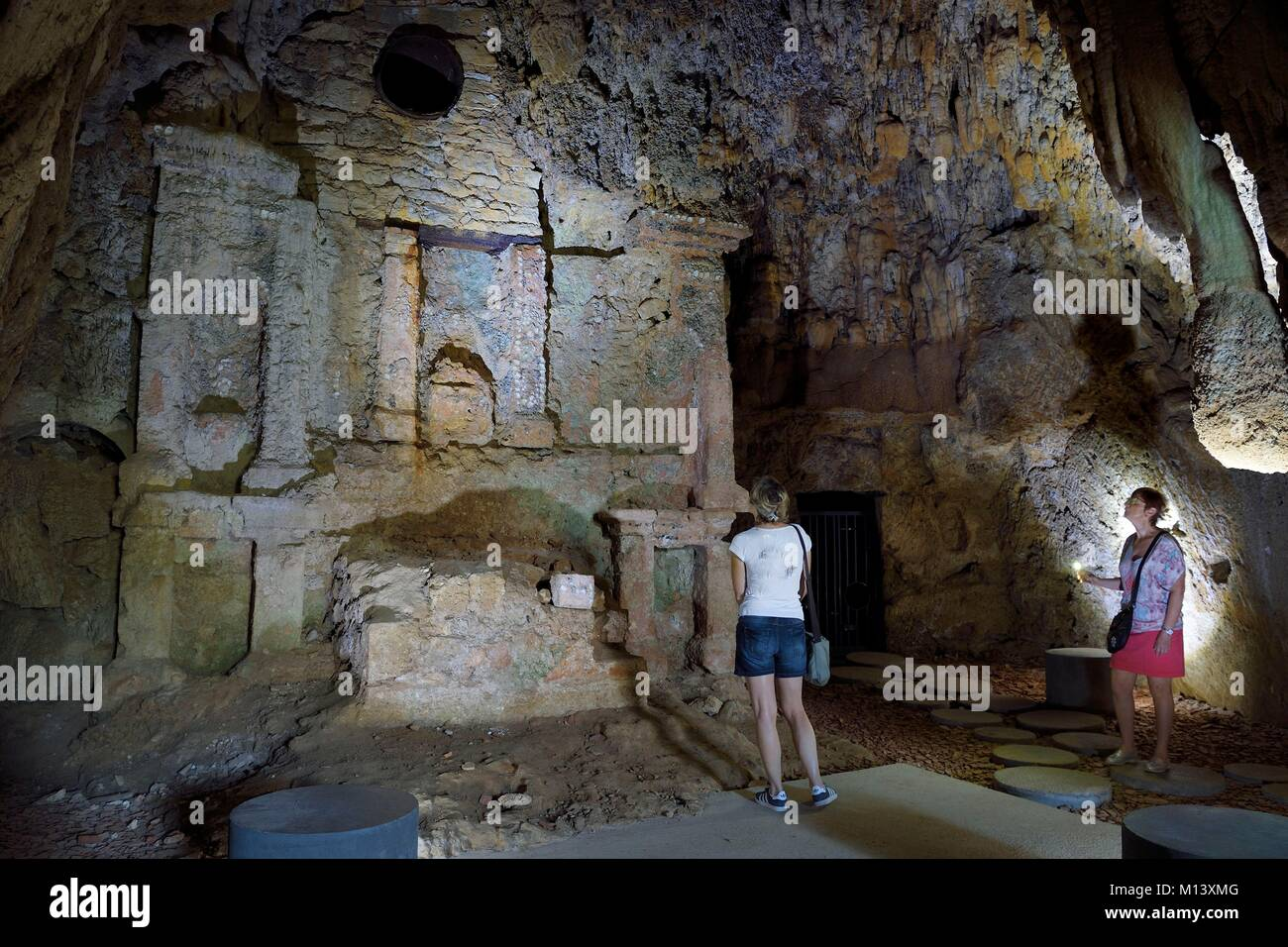 France, Var, Provence Verte, Barjols, troglodyte Convent of the Carmelites Dechaux, the chapel with shells Stock Photo