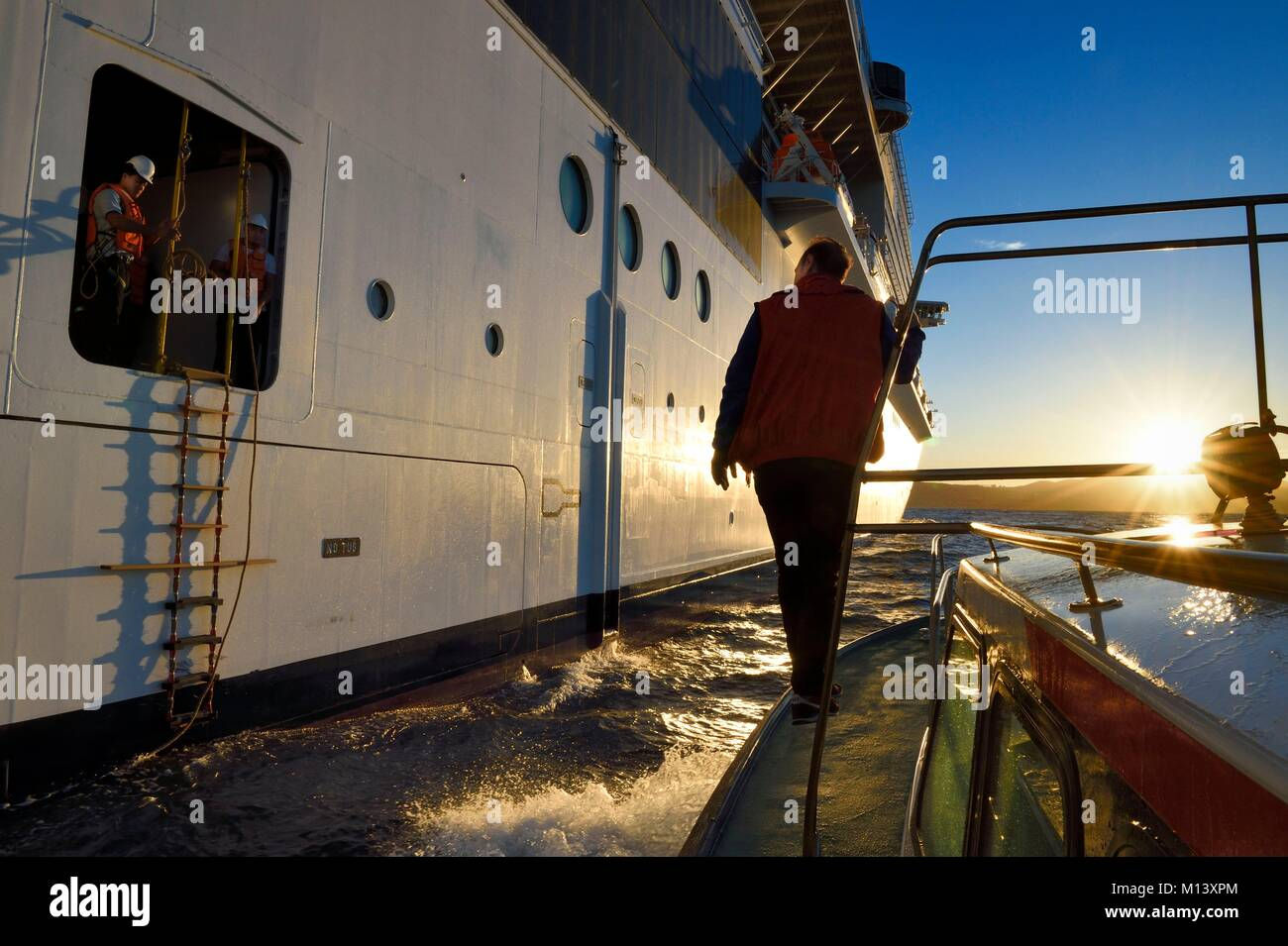 France, Bouches du Rhone, Marseille, the Maritime Pilot Jean-François Suhas, preparing to embark aboard a cruise - Stock Image