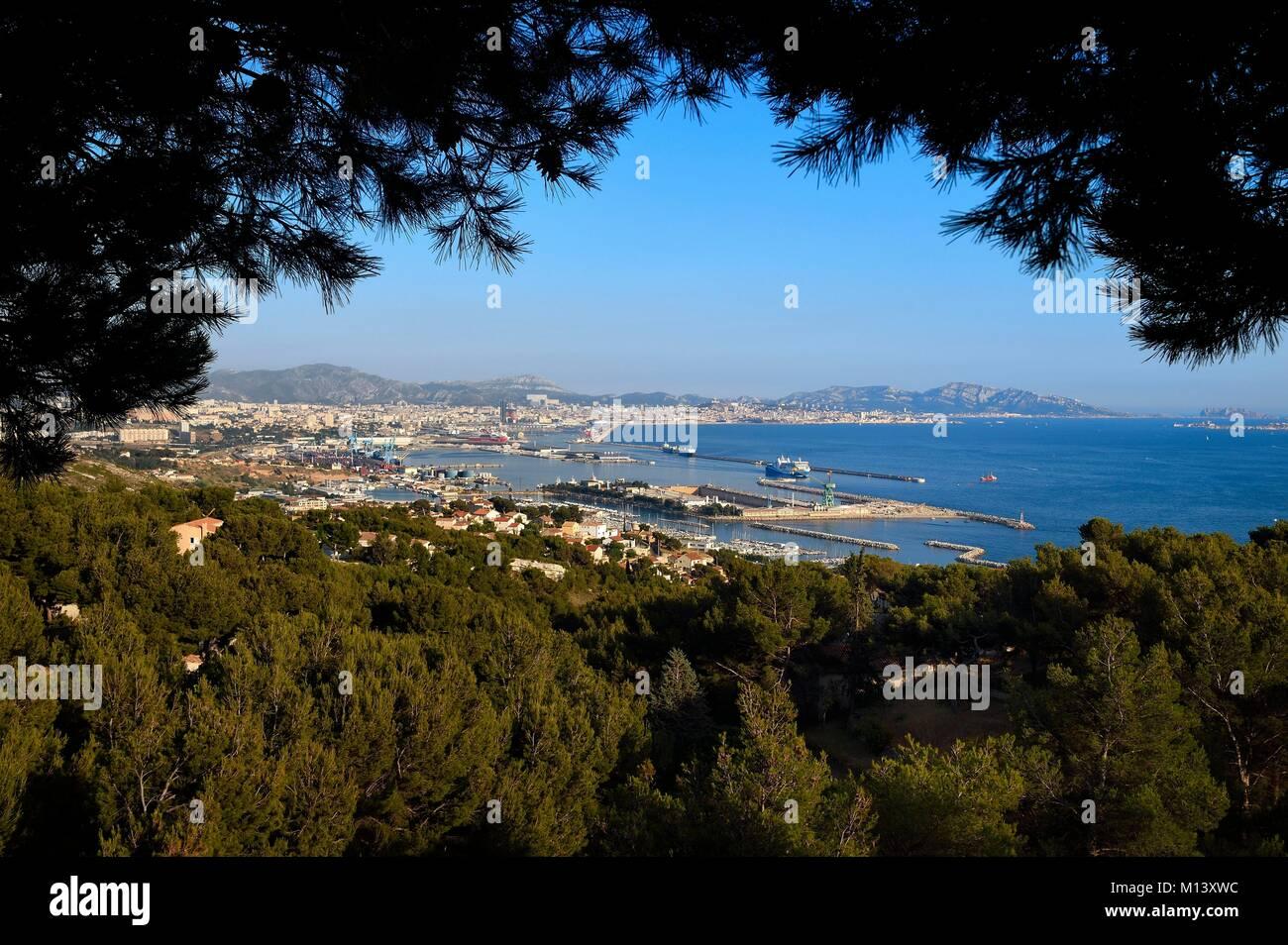 France, Bouches du Rhone, Marseille, Grand Port Maritime de Marseille or GPMM, East Basin, Marina Estaque Stock Photo