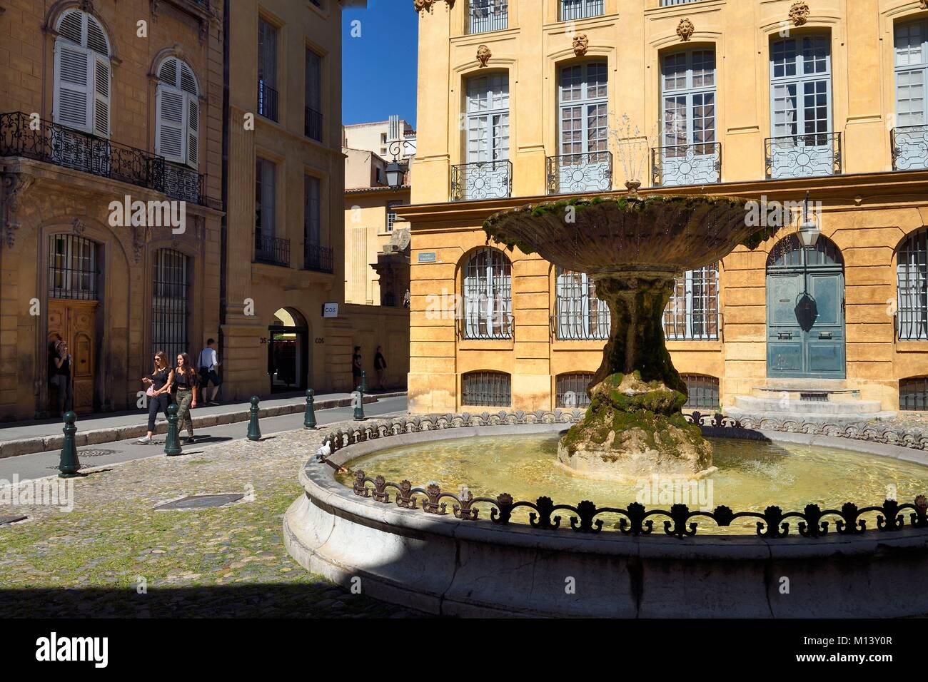 France, Bouches du Rhone, Aix en Provence, fountain of place Albertas - Stock Image