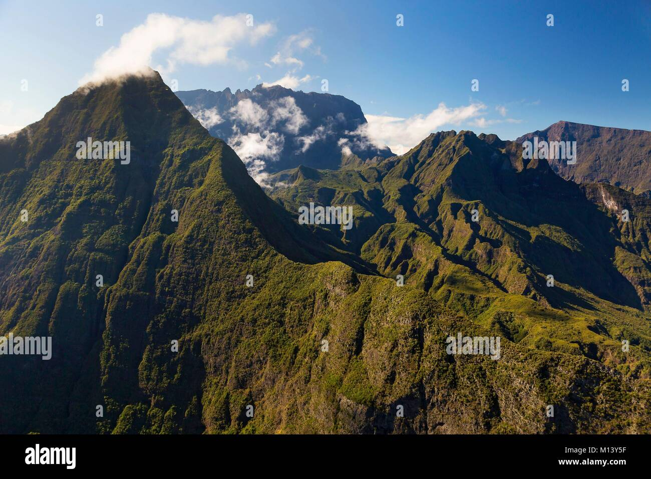 France, Reunion island, Reunion National Park listed as World Heritage by UNESCO, Piton des Neiges (aerial view) - Stock Image
