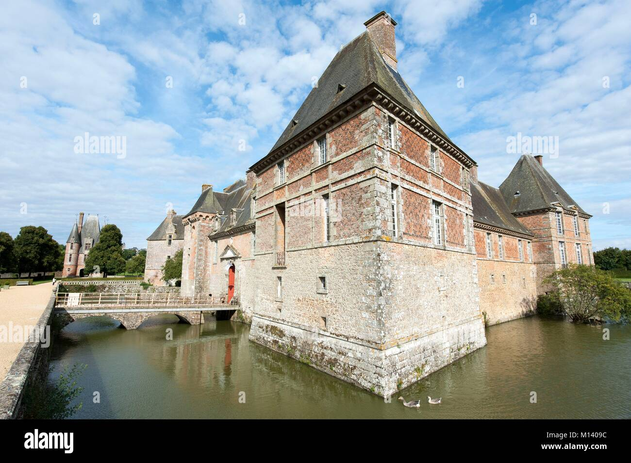 France, Orne, Carrouges, Carrouges castle and the moats Stock Photo