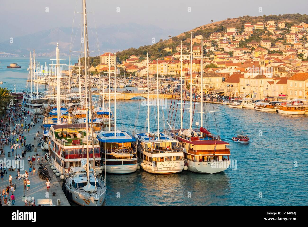 Croatia, Central Dalmatia, Dalmatian coast, Trogir, Historic Centre listed as World Heritage by UNESCO, Dockside - Stock Image