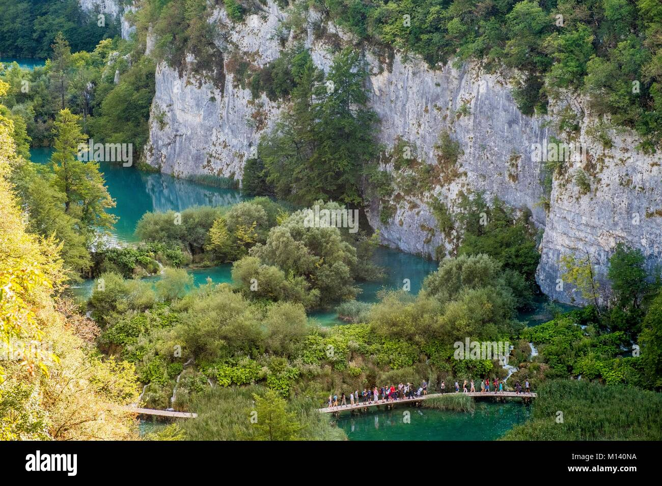 Croatia, North Dalmatia, Plitvice Lakes National Park listed as World Heritage by UNESCO, Lower lakes - Stock Image