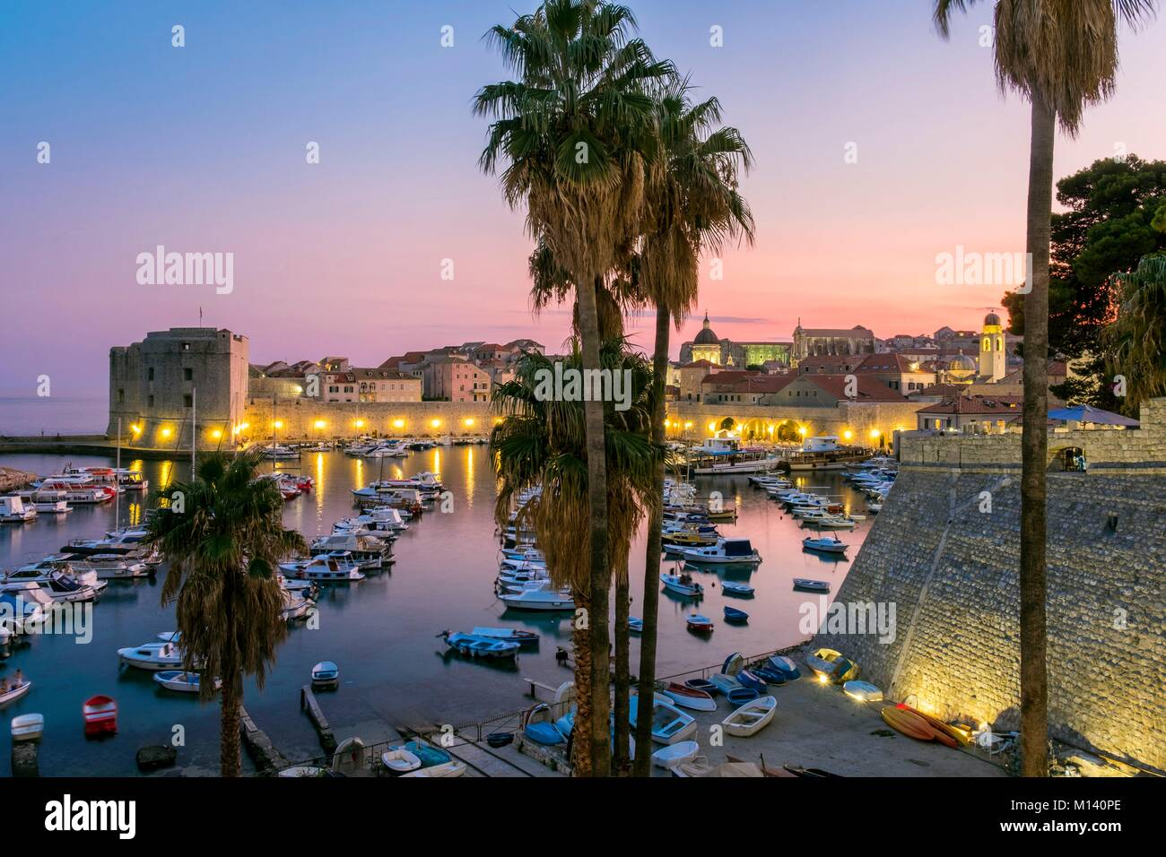 Croatia, Central Dalmatia, Dalmatian coast, Dubrovnik, Historic Centre listed as World Heritage by UNESCO, Old Port - Stock Image