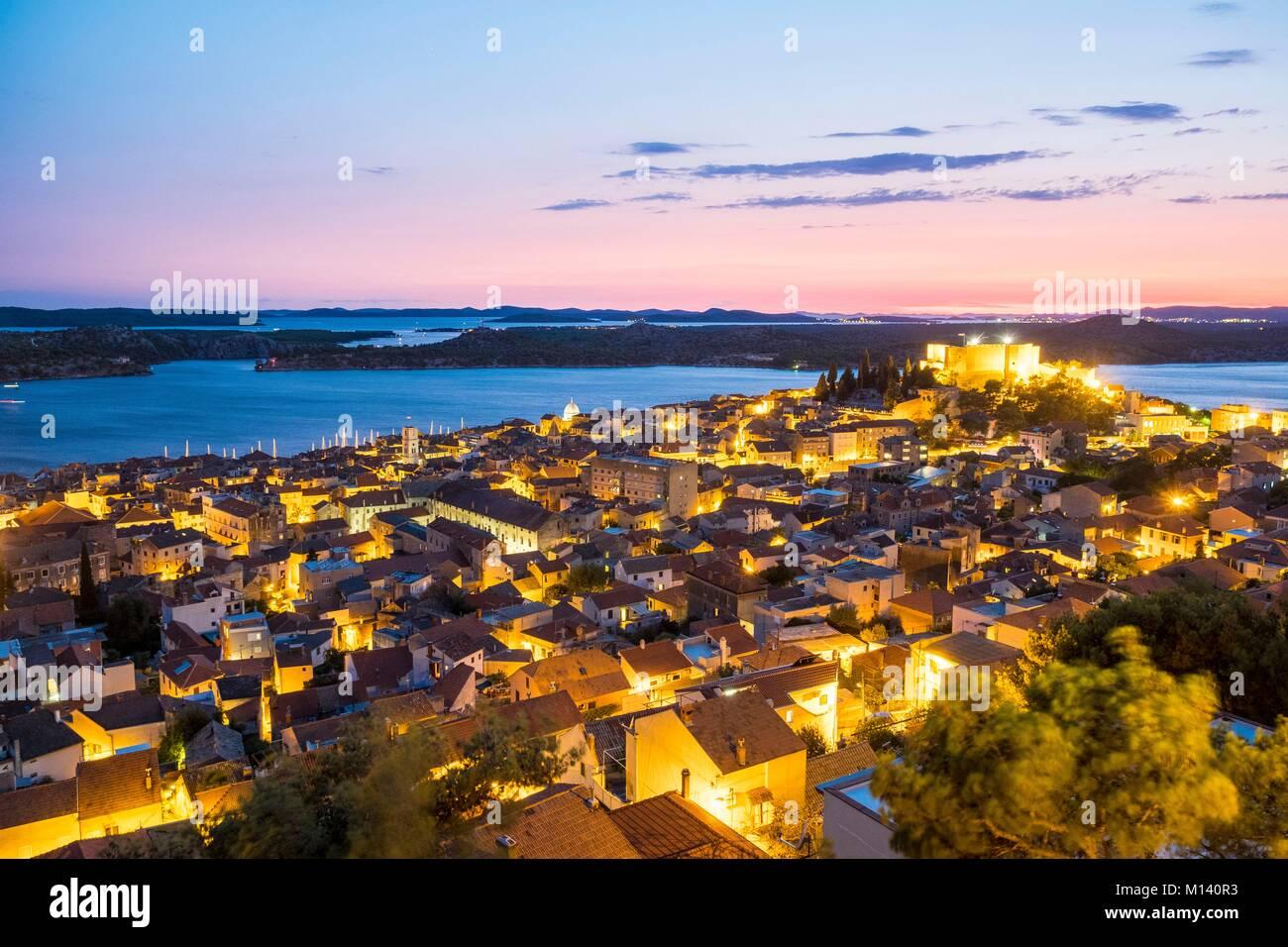 Croatia, North Dalmatia, Dalmatian coast, Sibenik, Saint Michael's fortress - Stock Image